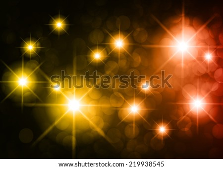 Dark yellow red sparkling background with stars in the sky and blurry lights, illustration. Abstract, Universe, Galaxies. - stock vector