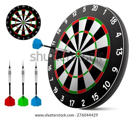Dart and dartboard - stock vector