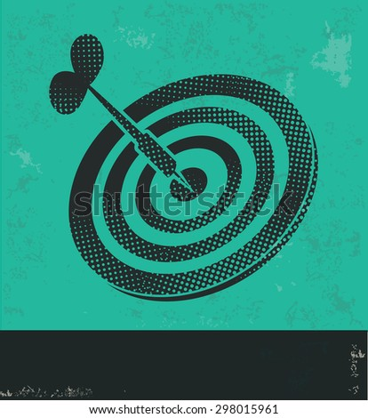 Dart design on green background,grunge vector - stock vector