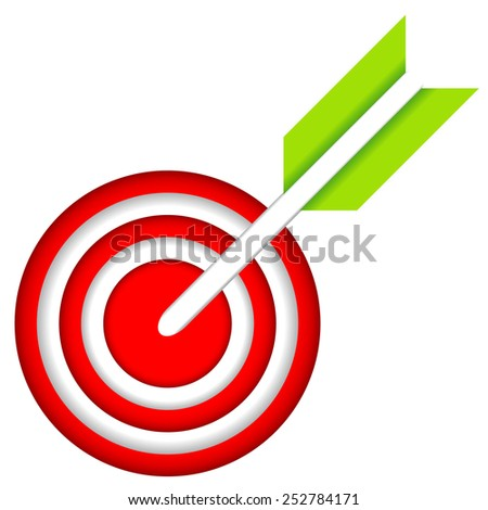 Dart Hitting A Target Isolated On White Background. Vector Illustration - stock vector
