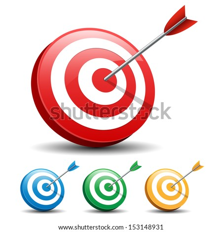 Dart Hitting A Target on white background, Vector illustration  - stock vector