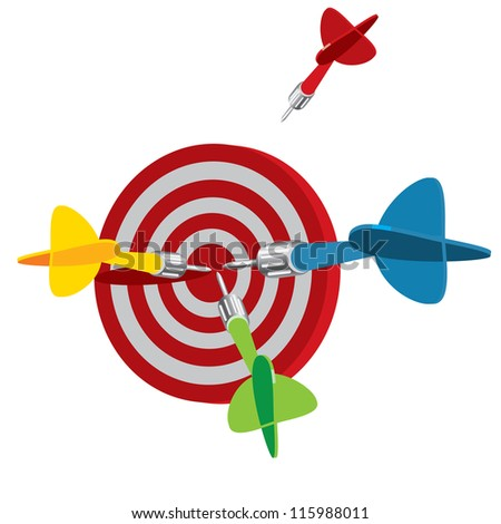 Dart on target, vector illustration, isolated on a white background - stock vector