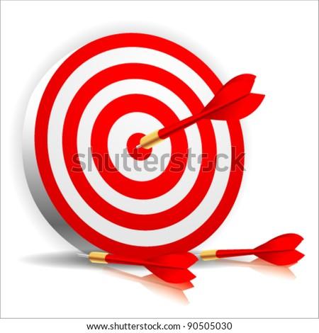 Dart success Hitting A Target - stock vector