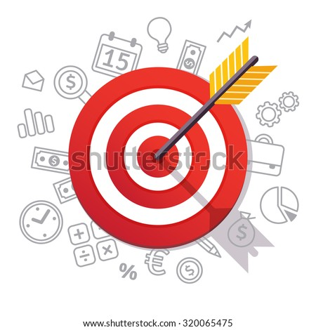 Dartboard arrow and icons. Business achievement and success concept. Straight to the aim symbol. Flat style vector illustration isolated on white background.  - stock vector