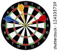 Dartboard with Darts on Bullseye Illustration Isolated on White Background Vector - stock vector