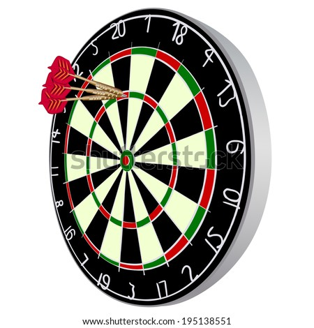 Darts aim. EPS 10 vector sketch illustration without transparency and meshes. - stock vector