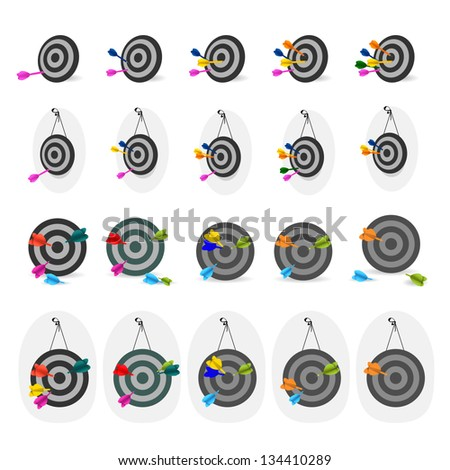 Darts And Targets Icon - Set - Isolated On White Background - Vector Illustration, Graphic Design Editable For Your Design. Darts Logo - stock vector