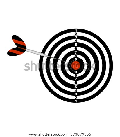 Darts board and darts arrow. Black and red illustration of a darts . Vector icon isolated on white background.