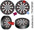 Darts game illustration - stock vector
