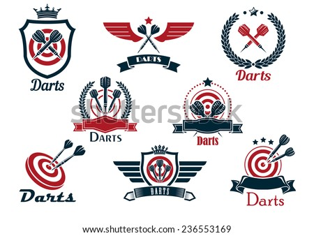 Darts heraldic sports emblems and symbols with crossed darts, laurel wreath, target and ribbons for sporting design - stock vector