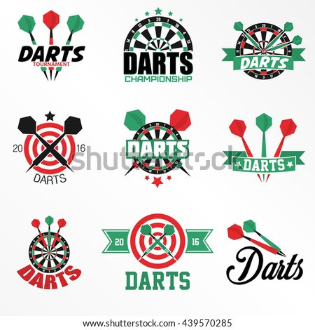 Darts Labels and Icons Set. Vector Illustration. Darts sports emblems and symbols with crossed darts, target for sporting design. - stock vector