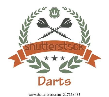 Darts sports heraldic emblem with darts, laurel wreath, banner, crown, stars for sport, heraldry or logo design - stock vector