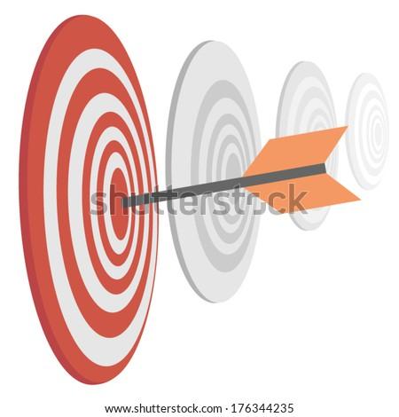 Darts target with arrow - stock vector