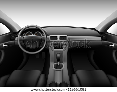 Dashboard - car interior, made with gradient mesh - stock vector