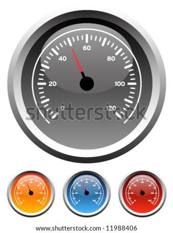 Dashboard speedometer gauge icons in 4 colors - stock vector