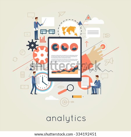 Data analysis, business graph statistics, financial research. Banner. Flat design vector illustration. - stock vector