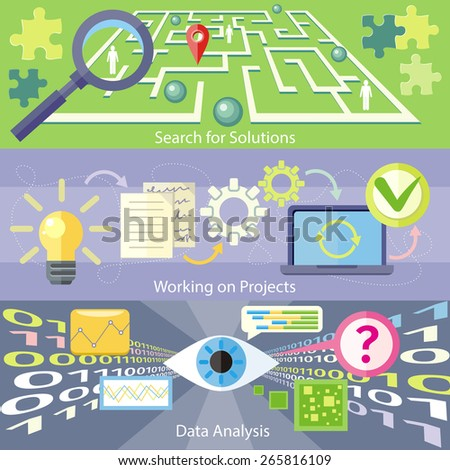 Data analysis concept. Scan virus in data. Working on project concept. Business plan concept icons in flat style. Search for solution labyrinth, maze, puzzle concept with business people - stock vector