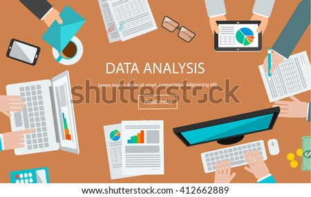 Data analysis  concept with table top view and human hands analyzing marketing and  financial data  on computer, laptop and tablet, vector illustration - stock vector