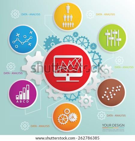 Data analysis design,clean vector - stock vector