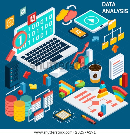Data analysis digital analytics compute process decorative icons isometric set with notebook vector illustration - stock vector