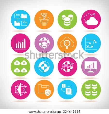 data analysis icons, analytics icons - stock vector