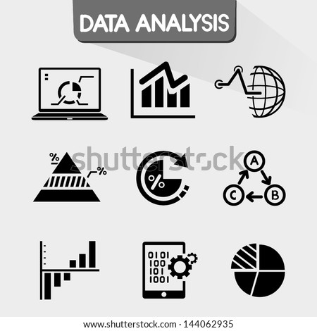 data analysis icons, data chart icons set, graph - stock vector