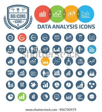 Data analysis icons,vector - stock vector