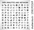 data analytic and social network icons set - stock
