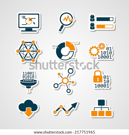 Data analytic icons paper cut set - stock vector