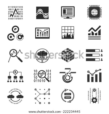 Data analytic silhouette icons - stock vector