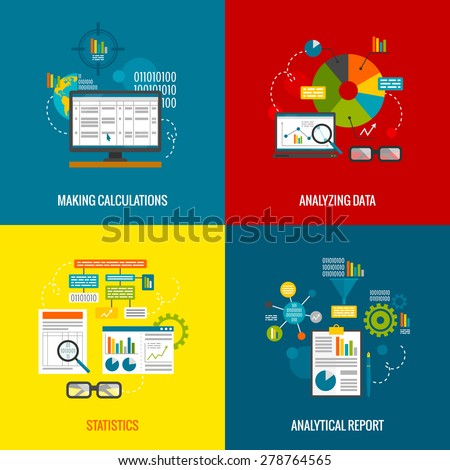 Data analytics design concept with making calculations statistics and analytical report flat icons set isolated vector illustration - stock vector