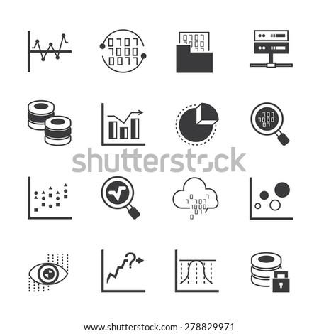 data analytics icons, analysis icons, graph, chart - stock vector