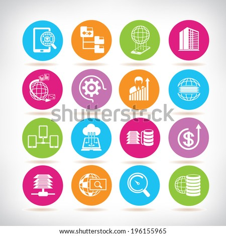 data analytics icons, big data buttons set - stock vector