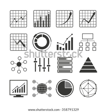 data analytics icons, chart icons, graph icons  - stock vector