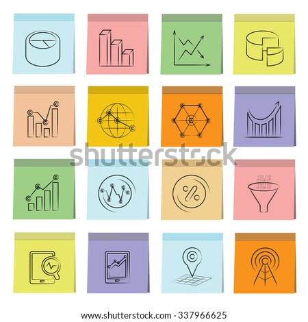 data analytics icons, graph and chart icons - stock vector