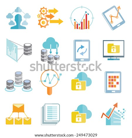 data analytics icons set, big data icons - stock vector