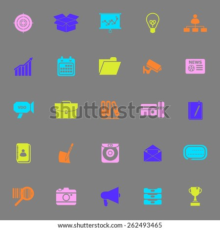 Data and information color icons on gray background, stock vector