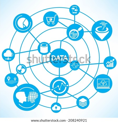 data and information technology concept info graphic network with blue theme - stock vector