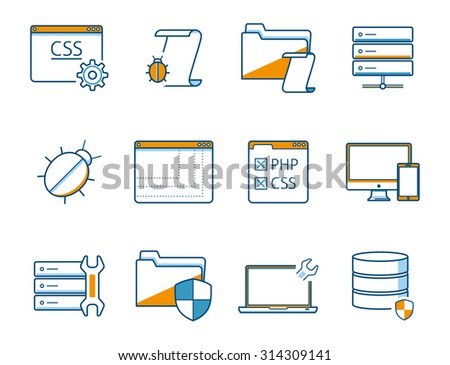 data and network risk and safety icons - stock vector