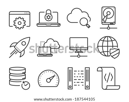 Data and Networking icons set // Line series - stock vector