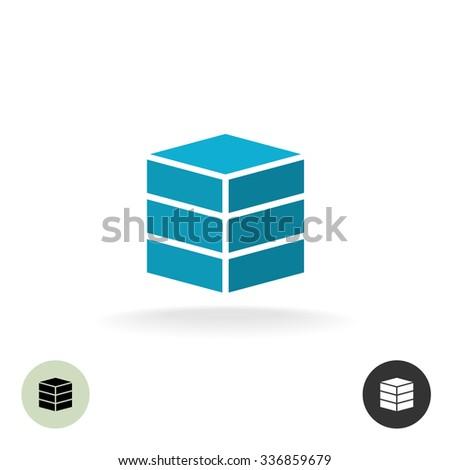 Data base logo. Simple geometric 3d box symbol. - stock vector