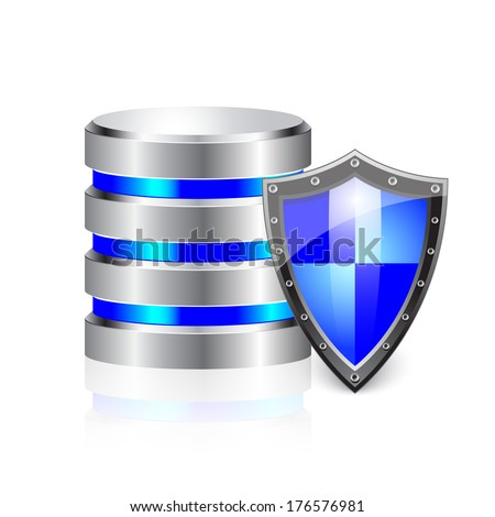 Data base, metal hard disk icon covered by protection shield, security concept
