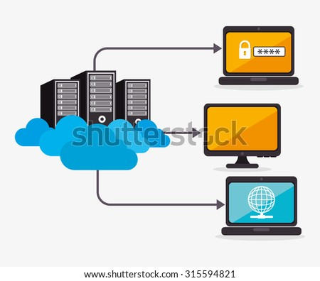 Data center, cloud computing and hosting, vector illustration eps 10. - stock vector