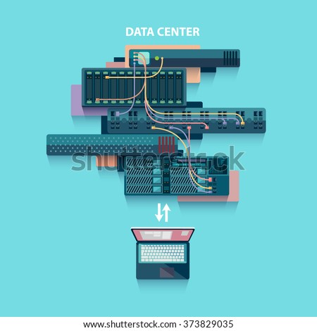 Data center. Flat design. - stock vector