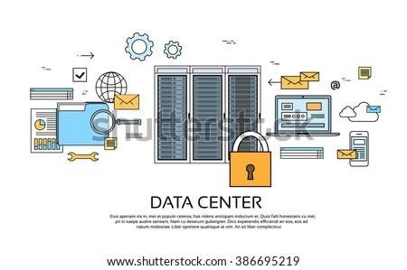 Data Center Hosting Server Computer Device Information Database Technology Banner Thin Line Vector Illustration - stock vector