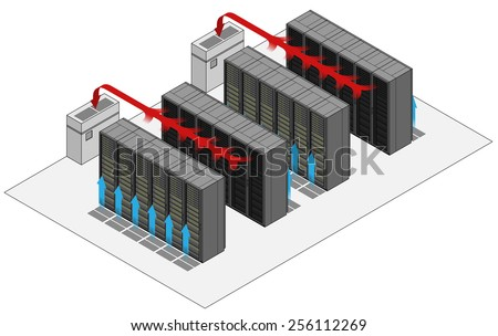 Data center hot and cold aisle rack/cabinet configuration/layout. Arrows show flow of hot and cold air. Cold air enters from raised floor. Hot air drawn into air conditioners. - stock vector