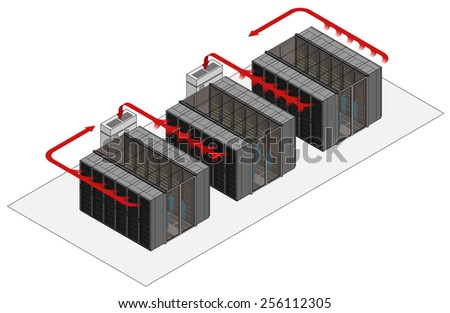 Data center hot and cold aisle rack/cabinet configuration/layout. Arrows show flow of hot and cold air. Cold air enters from raised floor in contained aisles. Hot air drawn into air conditioners.
