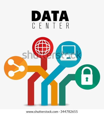 Data center security system graphic with icons, vector illustration design - stock vector