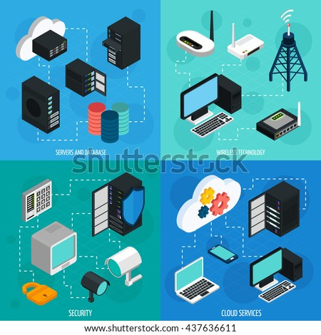 Data center 2x2 isometric icons set with database cloud services security and wireless technology isolated isometric vector illustration - stock vector