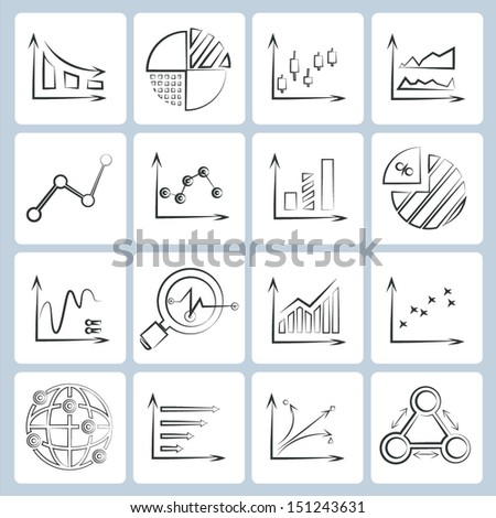 data chart icons set, business data analysis concept, sketched style - stock vector